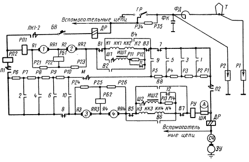 Схема силовых цепей моторного